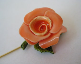 Rose Flower Stick Pin Orange Plastic Vintage