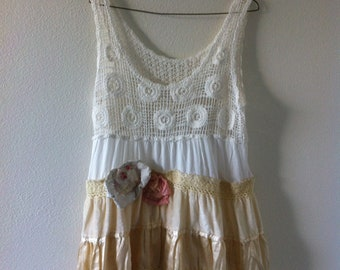 White and pale yellow dress-velvet-artsy Eco-small medium-upcycled-by AndysSummer design