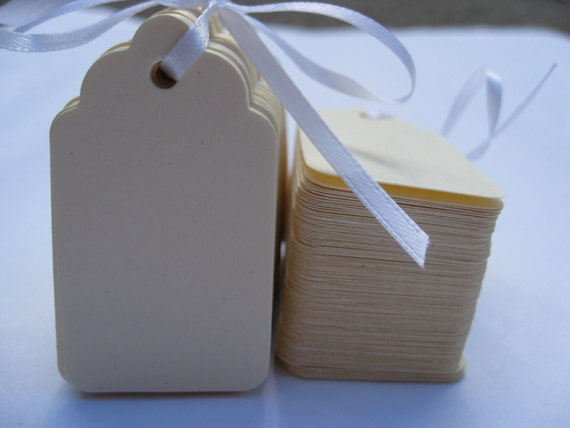 40 Scalloped Tags, CHOOSE SIZE & COLORS. Wedding, Favor, Place Card, Escort Card, Gift Tag, Wishing Tree Tag. Custom Orders Welcome