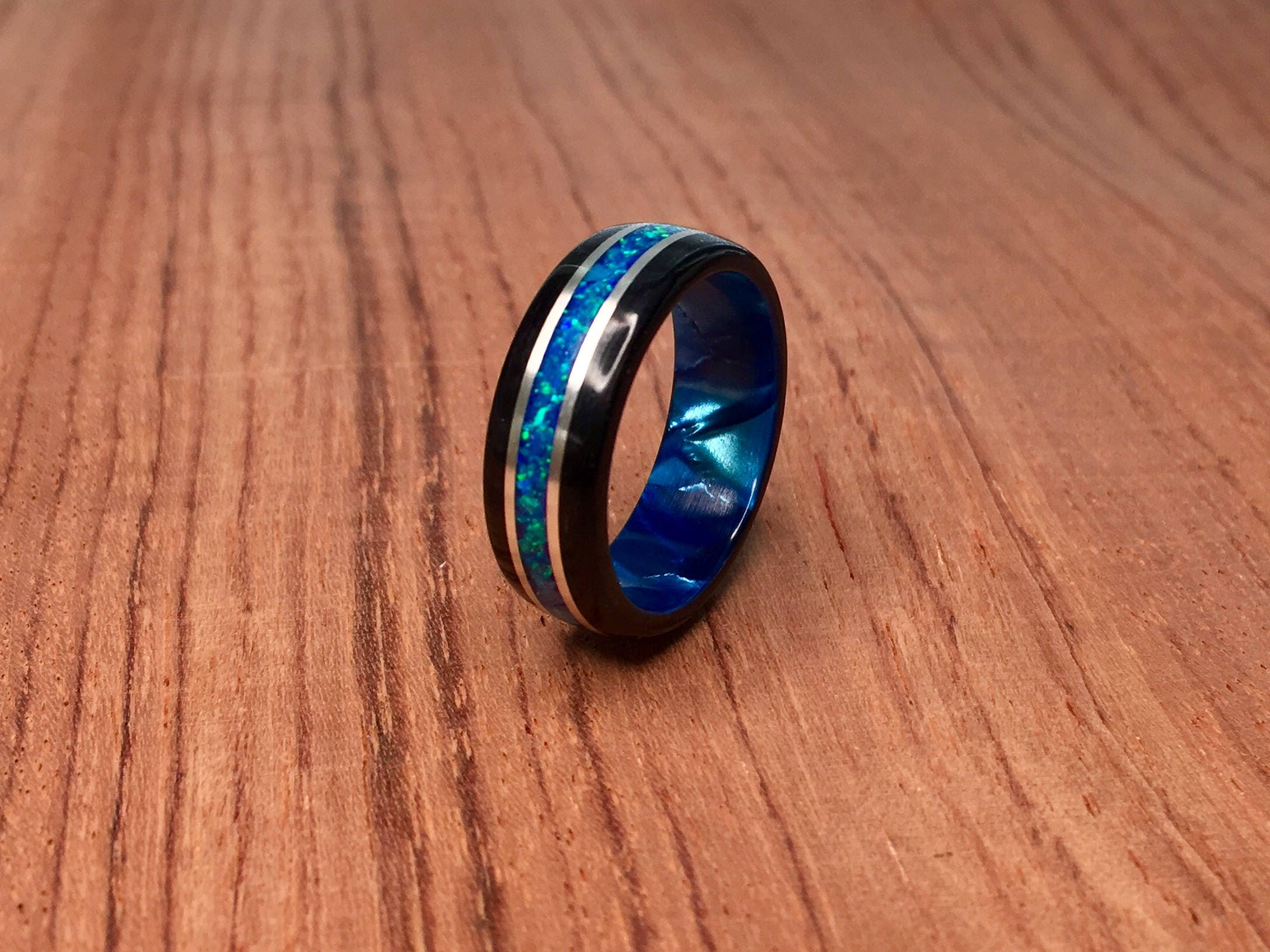 Black Wood With Crushed Blue Opal Sterling Silver Banding