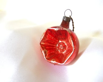 Vintage Christmas Ornament, Small Red Crushed Indent Ornament