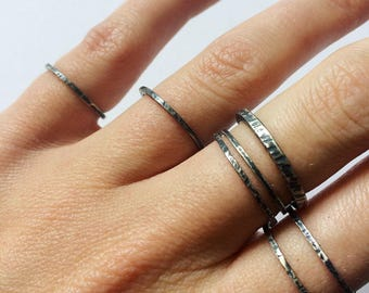 Textured stacking ring in oxidised sterling silver