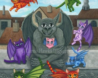 Gargoyle Flying Kitten Art Original Cat Painting Guardiann Winged Cats Fantasy Cat Art Original Canvas Painting 16x20 Art For Cat Lover