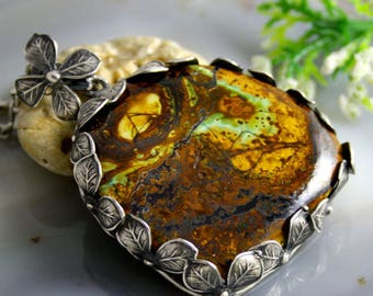Statement Pendant Zarinite Stone Necklace Sterling Silver Jewelry