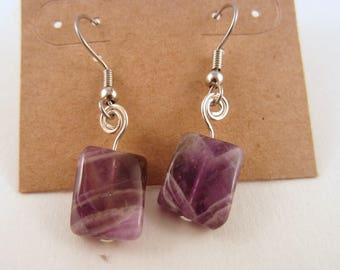 Gem stone  earrings purple rainbow flourite