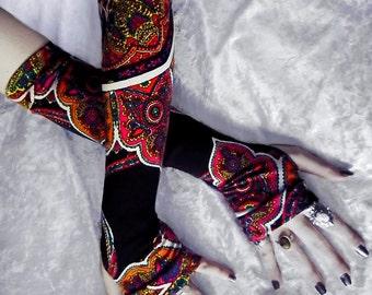 Gypsy Fire Arm Warmers | Black Magenta Yellow Orange Green White Blue Mehndi Paisley Floral | Yoga Meditation Gothic Dark Tribal Bellydance