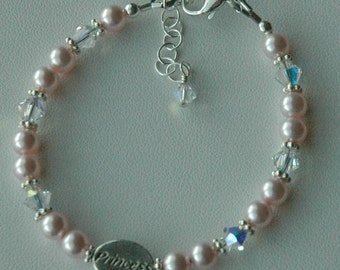 Princess Pearl Children Bracelet, Pink Pearl Bracelet, Flower Girl Bracelet, Birthday Present Pearl Bracelet, Baby Pink Pearl Bracelet