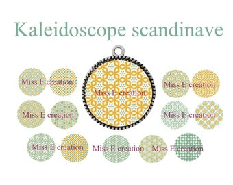 Scandinavian Kaleidoscope print of digital images for cabochon 25mm and 20mm and 18mm