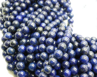20 lapis lazuli 8 mm stone of life blue and gold