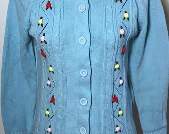 Women's Vintage 1960s Blue Cardigan Size Large