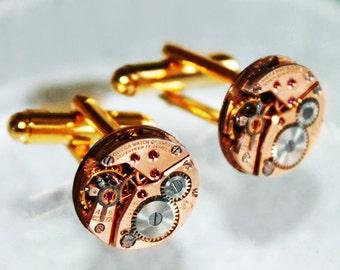 OMEGA Steampunk Cufflinks: Rare GENUINE OMEGA Vintage Watch Movement Matching Men Steampunk Cufflinks / Cuff Links Gift Men Fathers Day Gift