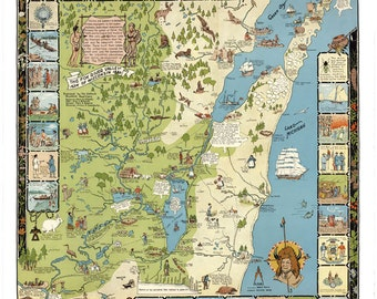 Door County Wisconsin Map - Door County Map - Illustrated Map of Door County Wisconsin - Wisconsin Vintage Map