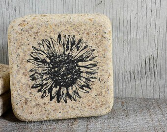 Stone coaster set, sunflower, set of 4 rustic earthy coasters