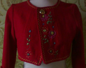 100 % red  wool crop bolero jacket Folcklore style handembroidered