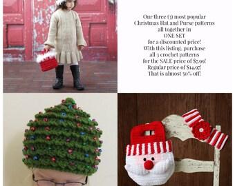 Easy Crochet PATTERN SALE Baby Child CHRISTMAS Hat & Purse 3  in 1 Holiday Pattern Trio Fur Hat Tree Hat Santa Hat