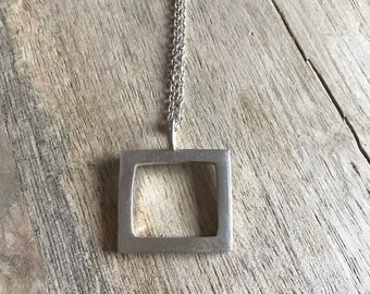 Rogarfee Necklace - Geometric Square Necklace in Sterling Silver