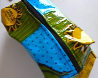 Fused Plastic Bag Mini Dopp Bag in Blue, Green and Yellow
