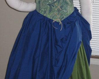 DDNJ 4pc Choose Fabrics Reversible Corset Style Bodice Chemise Petal Skirt FL Skirt Plus Custom Made ANY Size Costume Medieval Pirate Wench