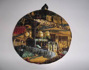 Quilted, Pot Holders, Trains, Steam Engines, Potholders, Hot Pads, Trivet Round, Handmade, Double Insulated, Kitchen Decor, Hostess Gift
