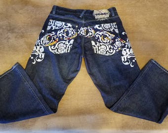 Hip Hop Specialty Coogi Denim Jeans Heavily Embroidered Baggy, Skateboarder Extreme Sports Rapper
