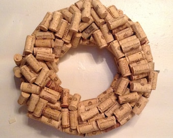"13"" Wine Cork Wreath, Wine Gift, Unique Wine Gifts, Gifts for Wine Lovers, Wine Cork Crafts"