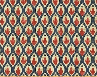 Cinnabar Red Mosaic Cotton Fabric from the Kashmir Collection by Rosemarie Lavin for Windham Fabrics