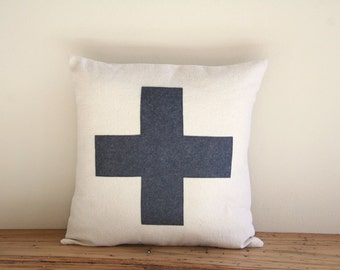 """charcoal swiss cross throw pillow cover, 16"""" x 16"""", natural farmhouse cabin style, rustic, dorm home fall decor"""