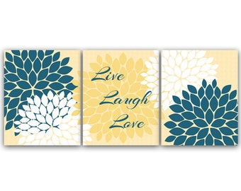 Bedroom Wall Art, Live Laugh Love, Instant Download Bath Art, Printable Modern Bedroom Wall Decor, Yellow and Blue Bedroom Decor - HOME30