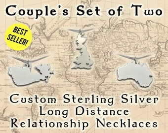 Necklace for Couples – 2 Sterling Silver Necklace Countries with Cutout Hearts, Makes a Cute Long Distance Boyfriend Gift