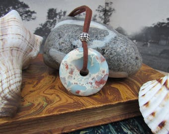 """Necklace, suede cord, round donut agate Picasso """"Pi"""""""