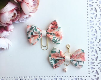 Peach Floral Planner Bow Charm and TN Bow Charm Bow Paperclip