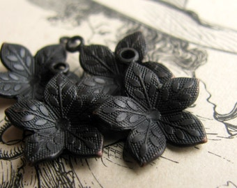 Cupped black flower charm, dark antiqued brass, 12mm (6 little flower charms) aged patina, oxidized brass charm