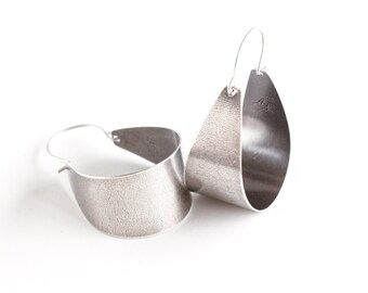 "Wide silver earrings in a unique arc shape to form a modern hoop design complemented with an oxidized finish - ""Silver Scoops Earrings"""