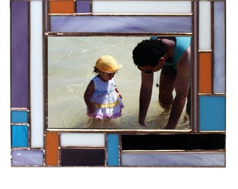 Stained Glass Multicolor Picture Frame with Copper Accents For a 4x6 Photo