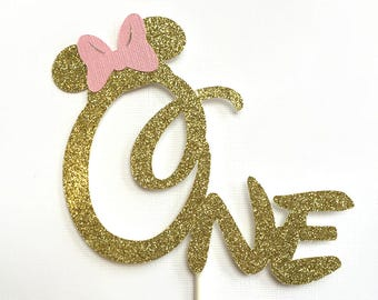 Minnie Mouse Cake Topper Gold Pink Glitter Minnie Cake Topper First Birthday Party Cake Stick One Minnie Cake Decoration Name Topper Custom