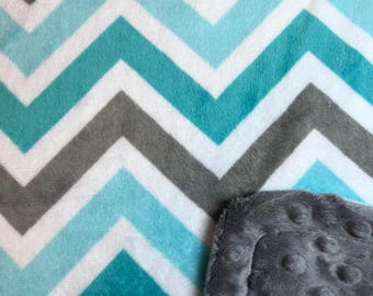Minky Blanket Teal, Turquoise and Grey Chevron Print Minky with Grey Dimple Dot Minky Backing - Perfect Size for a Baby or Toddler