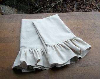 Pair Ruffled Linen Towels Tea Towels Farmhouse Kitchen Towels Handmade Made to Order Custom Set of 2