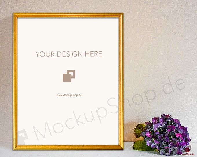 Fall GOLD FRAME MOCKUP // Empty Frame Mockup // Gold Mockup with Flowers // Empty Gold Frame Mockup // Gold Mockup Photo / Gold Mockup Frame