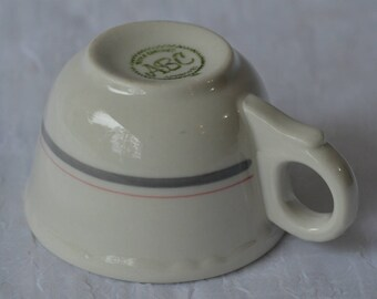 """eb2729-D Restaurant Ware Cafe Diner Coffee Cup """"ABC"""" White With Gray & Pink Stripe"""