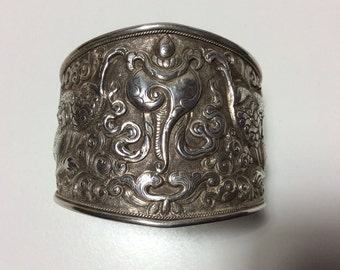 Hand Carved Sterling Cuff