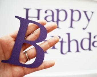Die Cut lettres, joyeux anniversaire die cut-lettres en violet pour A83 de papier cartonné texturé bannière (3,5 pouces)
