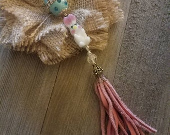 Easter Springtime Bunny Rabbit  Art Bead Necklace with Pink Leather Tassel and Blue Leather Necklace