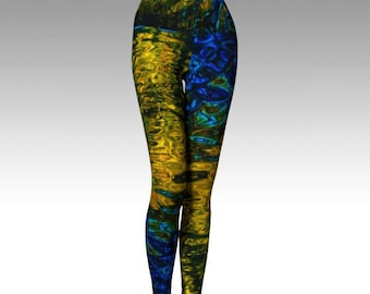 Water Yoga Leggings, Water Tights, Nature Tights, Nature Leggings, Yoga Pants, Water drop tights, Nature art, Festival wear, Made in Canada