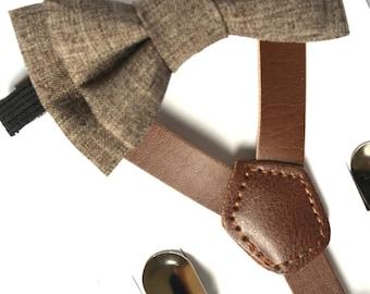 SUSPENDER & BOWTIE SET.  Newborn - Adult sizes. Dark brown pu leather suspenders. Dark Brown Chambray bow tie