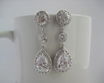 Classic Wedding Crystal Drop Earrings Bridal Cubic Zirconia Silver Earrings Wedding Teardrop Rhodium Drop Earrings