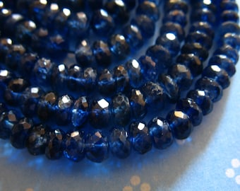 5-100 pcs, KYANITE Beads Rondelles, Luxe AA/AAA, 3-4 or 4-5 mm, Finest Kashmir Sapphire Blue, bridal brides solo