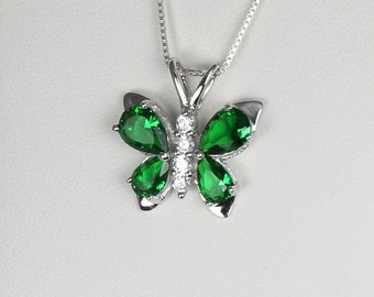 Emerald Sterling Silver Necklace with Diamond Accents / Emerald Pendant Silver