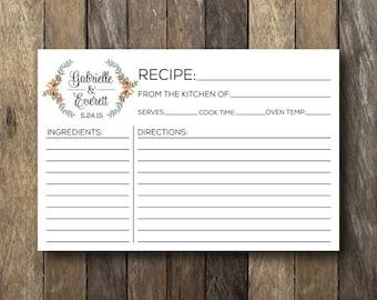 Personalized Recipe Card - Printable Recipe Cards - Bridal Shower Recipe Cards - Personalized Recipe Cards - Bridal Recipe Card