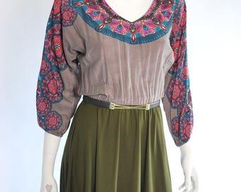 Designer Party Dress/ Lady Dress/ Dolman Sleeve Dress/ Vintage Designer Dress/ Bohemian Dress/ Retro Dress/ A Line Dress/ Summer Dress