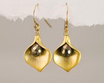 Pyrite Earrings - Fools Gold Earrings - Calla Lily Earrings - Gold Earrings - Nature Inspired Jewelry